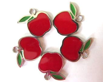5 Pieces LARGE RED APPLE Charm Pendant
