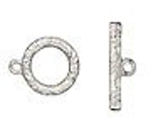 Four Vine and Flower Round Toggle Clasps in silver-finished pewter, 17mm.
