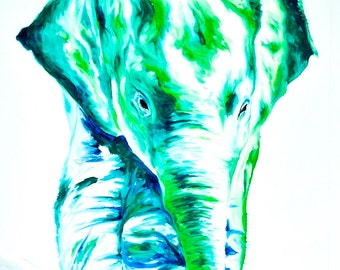"Elephant Painting | Elephant Art by Aidan Weichard | Original Painting on Canvas | Abstract Animal Art | ""Jade"" 95 x 70cm - Modern style"