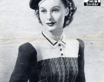 1940s Lady's Jumper with Matching Beret, PDF Vintage Knitting Pattern No. 1437