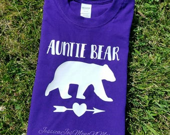 Auntie Bear T-shirt- Auntie Bear Tee-Mothers Day- Funny Sis Present-Baby Shower-Pregnancy Reveal-Sister-N-Law Gift-HTV