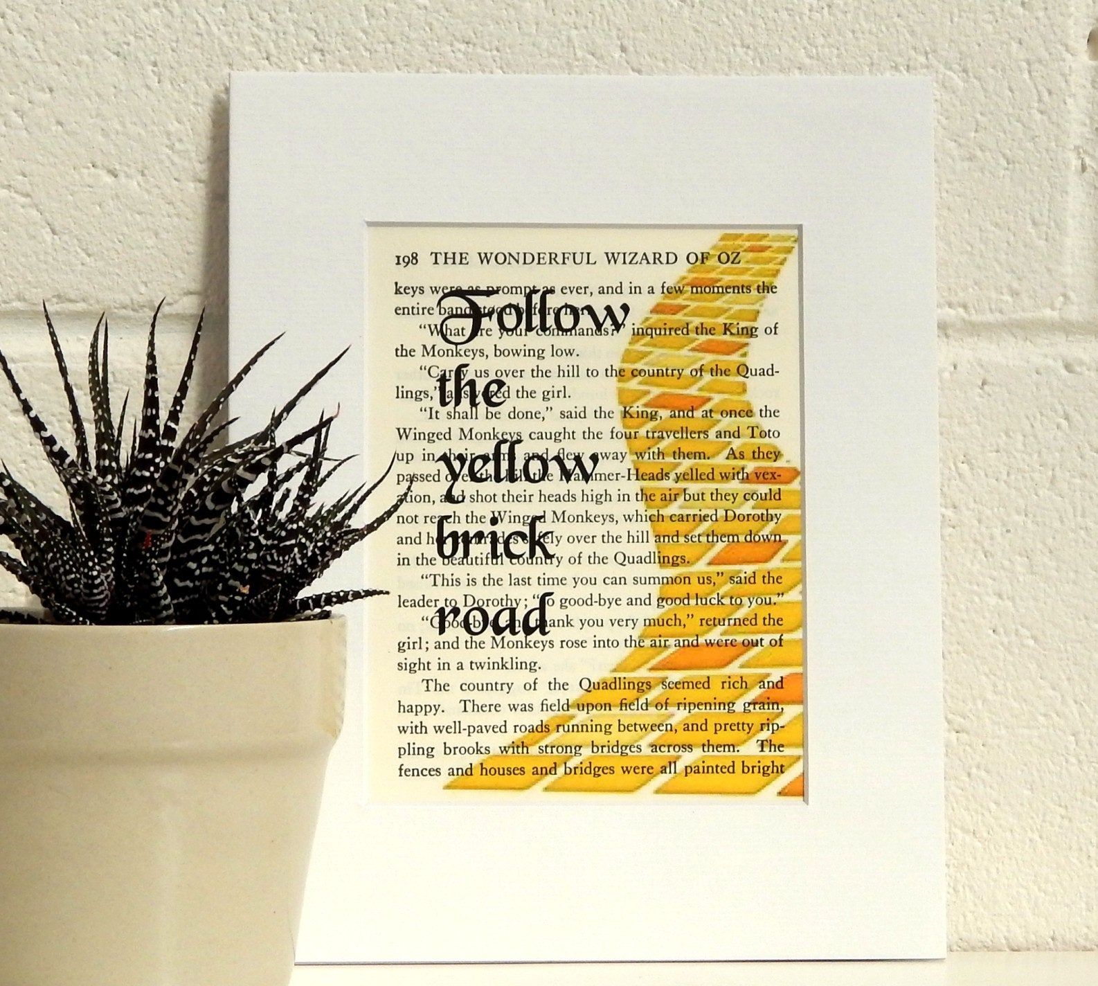 Yellow Brick Road Wizard of Oz Vintage Book Page Print
