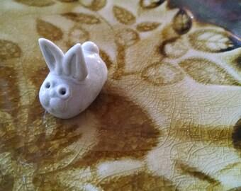 Vintage Woodland Bunny Miniature White Rabbit Handmade Animal Figurine