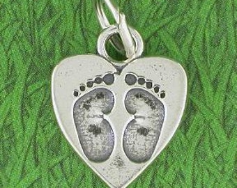 Newborn Baby Feet Footprints Sterling Silver Heart Charm -- Complimentary Ribbon or Cord