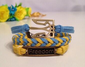 Ukraine Symbol Trident Bracelet Freedom Bracelet Ukraine Flag Antique Bronze/Silver Charm Bracelet Ukraine Jewelry, Ukraine gift