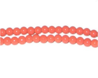 6mm Deep Orange Team and School Glass Bead, approx. 73 beads