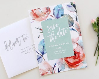 Calligraphy Save the Date | Floral Save the Date Card, botanical save-the-date, save the date, custom save the date, printable save the date