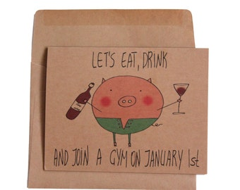 funny New Years card/ happy new year card/ cute holidays card/ funny christmas cards/ pig Christmas card