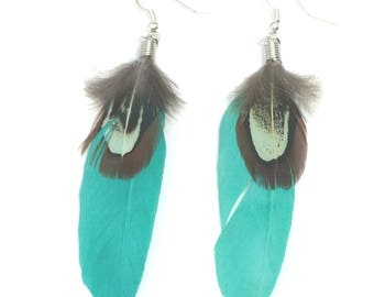 Earrings Boho/Ibiza style silver plated long with spring sea green