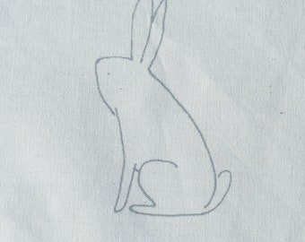 Craft Design Bunnies - hand printed on 100% organic cream cotton for use in your craft project