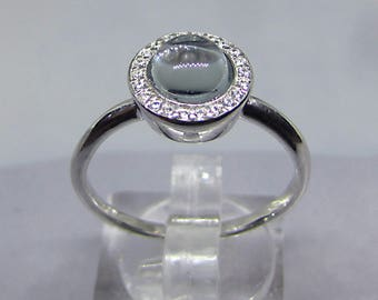 Ring trendy Silver Blue Topaz and cubic zirconia size 60