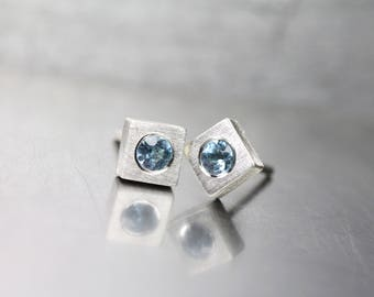 Minimalistic Aquamarine Stud Earrings March Birthstone Sterling Silver Squares Pale Sky Blue Gemstones Gift Idea For Her - Himmelseckchen