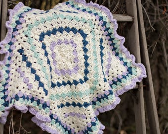 Blue, cream and lavender baby blanket. Crocheted baby blanket. Baby afghan.