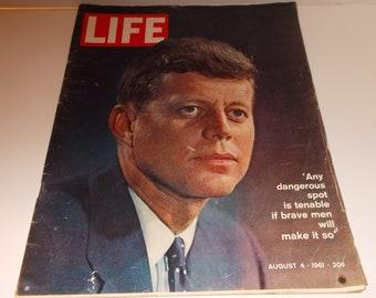 "Life Magazine August 4, 1961 ""President John Kennedy"" on the Cover"