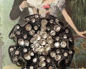 Vintage Ruffled Lace Rhinestone Encrusted Brooch Pin