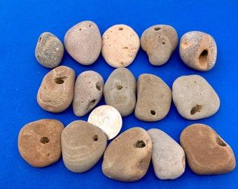 15 Hag stones , holey stones , natural holed stones , stones with holes , Beach Stones