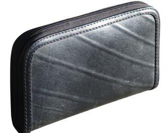 Medium zip wallet using inner tube - FREE SHIPPING, gift for her, vegan wallet, Upcycle wallet card zipper, Mom gift