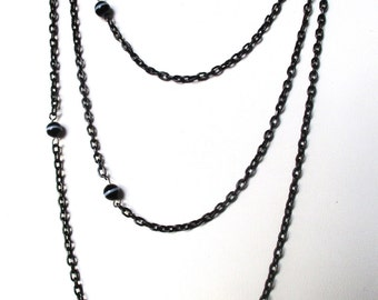 Victorian 56-Inch Gunmetal Chain With (10) Banded-Agate Bead Stations