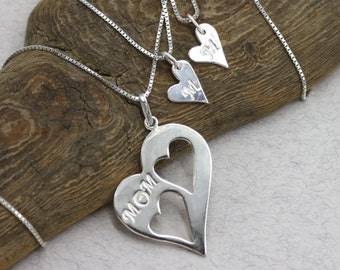 Mother Daughter Heart Necklace Set Necklace with initials  Mom Two Daughters Necklace Mom Necklace Sterling Silver Two Hearts Pendant