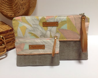 Clutch with wrist strap and leather purse with cotton and linen