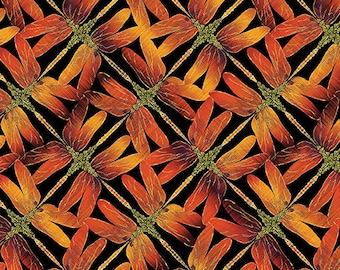 Dragonfly Sunset Orange Black Metallic Benartex Fabric