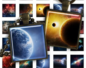 75% OFF SALE Space & Planets - Digital collage printable download square 1 inch image for pendants glass charms resin digital image magnets