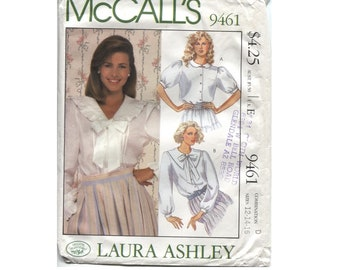 Vintage Laura Ashley Blouse Pattern  - McCalls 9461 - Size 12 14 16 - Button Front - Ruffles - Puffy sleeves