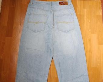 Phat Farm jeans, light blue baggy jeans vintage, 90s hip-hop clothing, 1990s hip hop shirt, old school, OG, gangsta rap, size W 38