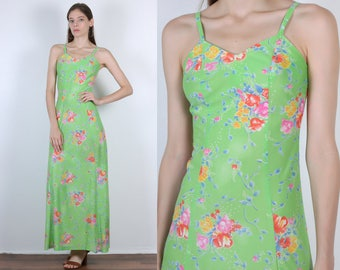 70s Floral Maxi Dress // Vintage Green Spaghetti Strap Column Sleeveless - XS to Small