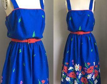 Vintage 1960's Poppies and Daisies Border Print Sundress Sun Dress Size Medium