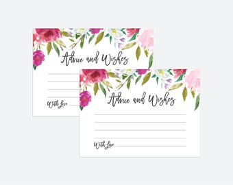 Printable Advice Cards | Wedding Advice Cards, Marriage Advice, Advice Printable, Wedding Advice, Instant Download