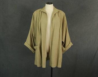 vintage 80s Cocoon Jacket - 1980s Khaki Indian Cotton Gauze Duster Jacket - Avant Garde Oversized Jacket Sz S M L