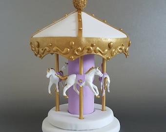 Carousel cake topper / centerpiece - lavender, white, gold