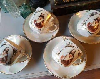 Gorgeous, rare vintage Jesus religious teacups and saucers