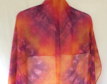 Tie Dyed Silk Chiffon Shawl in Orange and Purple Spiral Pattern