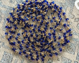 Cobalt Gold Bead Chain, Blue and Gold Glass Seed Bead Chain, Gold Bead Chain, 2.5mm, 5Ft