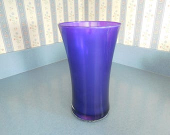 "Vintage Cobalt Blue/Deep Purple Glass Vase 9"" Tall"