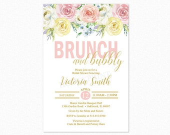 Brunch and Bubbly Bridal Shower Invitation, Bridal Shower Invitation, Floral, Printable JPEG/PDF File or Printed Invitations