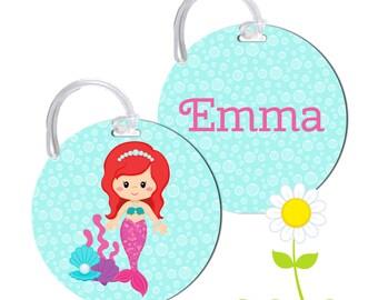 Personalized Backpack Tag - Mermaid Backpack Name Tag - Mermaid Bag Tag - Mermaid Bag Name Tag - Round Bag Tag - Kids' Luggage Tag