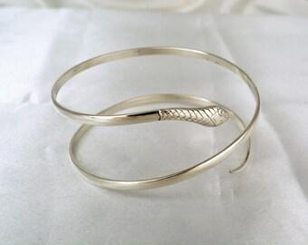 Sterling silver serpent bangle hallmarked vintage 20g slim snake bracelet