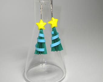 Origami Holiday Christmas Tree Sterling Silver Dangle Earrings