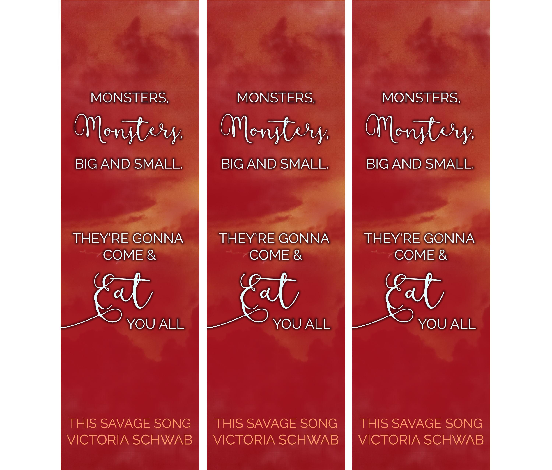 monsters big and small digital bookmark printable bookmark