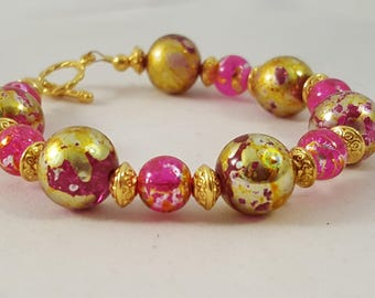 Pink & Gold Bracelet - Pink Bracelet - Gold Bracelet - Bling Bracelet - Bright Bracelet - Hot Pink - Gold - Pink Jewelry -Gold Jewelry -Pink