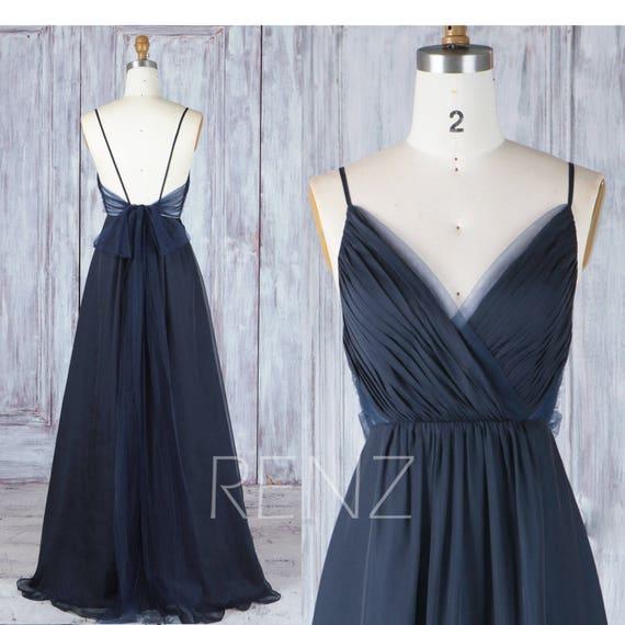 Brautjungfer Kleid Navy Blau Chiffon-Kleid Brautkleid