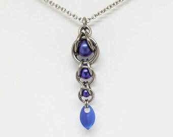 Purple Captured Titanium Ball Chainmaille Stainless Steel Pendant with Tiny Titanium Blue Purple Scale Burple