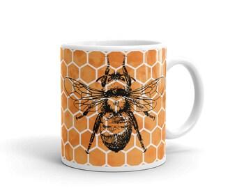 Large Vintage Bee Design on Honeycomb Coffee Cup Mug