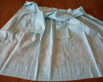 Retro, Handmade Robin Egg Blue Gingham Apron with Chicken Scratch Embroidery - Star pattern