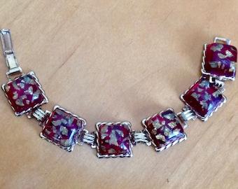 Vintage Chunky Foiled Cherry Lucite Gold Tone Link Bracelet