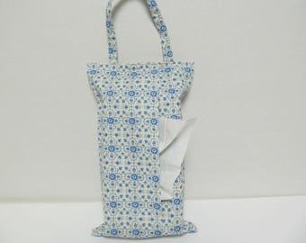 Hanging Tissue Box Cover For 85 Count kleenex/Blue Flower