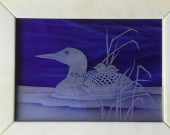 Loon with Chicks Picture, Etched Loon, Loon image in glass, Sandcarved Loon with Chicks, Pict-Loon with Chicks
